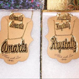 Jewelry - Name Plate Earrings & Necklace